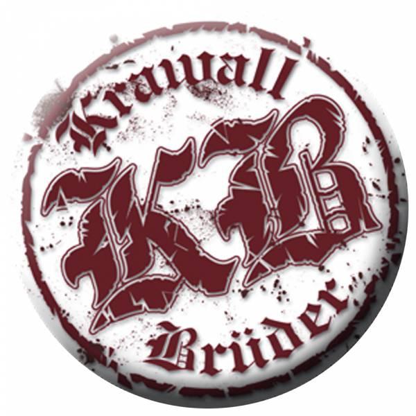 KrawallBrüder - Logo rot weiss, Button